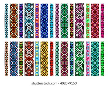 Trendy, contemporary ethnic seamless pattern, embroidery cross, squares, diamonds, chevrons. Beads, bracelet, ribbon, lace, bead weaving.