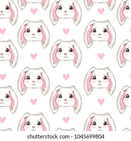 Trendy cool illustration vector pattern seamless, cute rabbit sketch vector illustration pattern seamless, hand drawn bunny