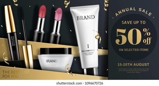 Trendy cosmetic product ads in gold and black tone, streamers falling down from sky