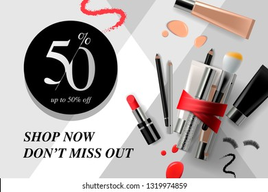 Trendy cosmetic products, ads beauty sale streamers. Modern design vector illustration concept for website and mobile website development.