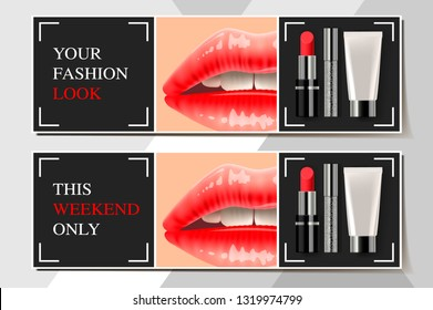Trendy cosmetic products ads streamers. Modern design vector illustration concept for website and mobile website development.