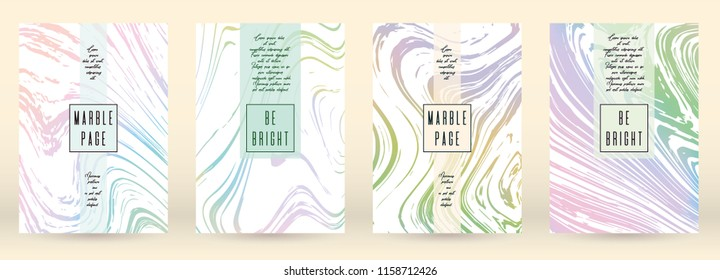Trendy Cover Design for your Business with Abstract Lines and Holography Background. Marble Poster, Flyer, Layout with Liquid Pattern for Branding, Identity. Vector minimalistic brochure.