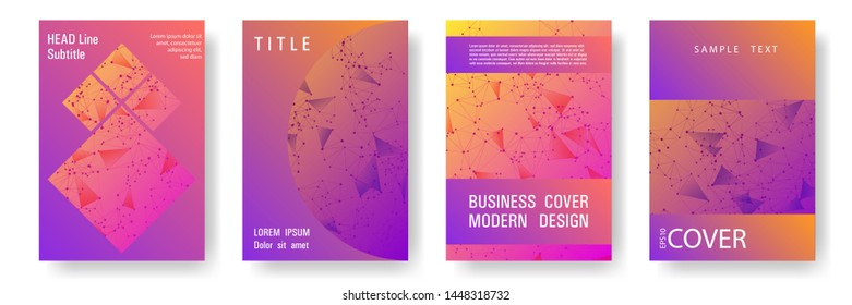 Trendy cover layout design. Global network connection digital grid. Interlinked nodes, neuron or social media structure concept. Information technology concept cover.