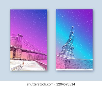 Trendy cover template. Winter city. Merry Christmas and New Year card design. Statue of Liberty. New York. USA. Hand drawn city sketch. Vector illustration.