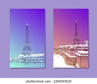 Trendy cover template. Winter city. Merry Christmas and New Year card design. View of the Eiffel Tower and Sena River. Paris, France. Urban sketch. Hand drawn vector illustration