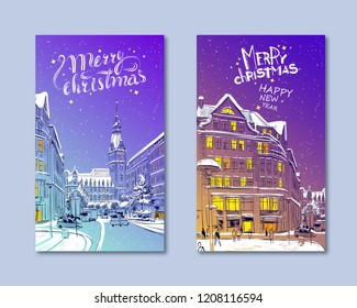 Trendy cover template. Winter city. Merry Christmas and New Year card design. Hamburg Town Hall. Germany. Hand drawn sketch. Vector illustration.