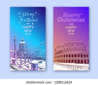 Trendy cover template. Winter city. Merry Christmas and New Year card design. Coliseum. Rome. Italy. Hand drawn landmark sketch. Vector illustration.