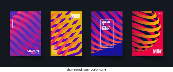 Trendy covers design. 3d shapes with colorful gradients. Eps10 vector.