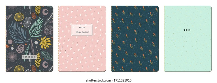 Trendy covers set. Cool abstract and floral design. Seamless pattern and mask used, easy to re-size. For notebooks, planners, brochures, books, catalogs etc  Vector.