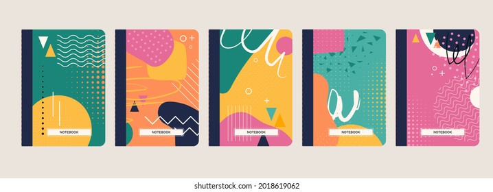 Trendy covers set. Cool abstract geometric designs. Easy to re-size. For notebooks, planners, brochures, books, catalogs etc. Creative vector illustration