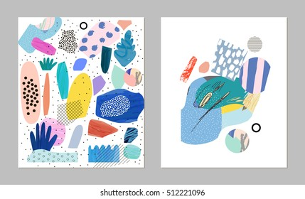 Trendy creative collages with different textures and shapes. Contemporary art. Modern graphic design.  Unusual artwork. Vector. Isolated
