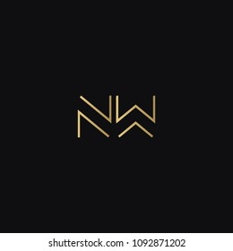 Trendy creative geometric pattern NW WN N W business brands black and golden color initial based letter icon logo.
