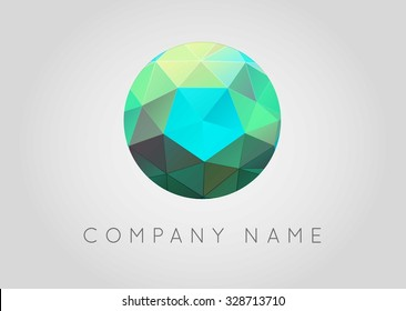 Trendy Crystal Triangulated Gem Logo Element Perfect for Business Geometric Low Polygon Style Visual Identity Vector