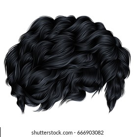 trendy curly hair brunette black colors . medium length .  beauty style .realistic  3d .