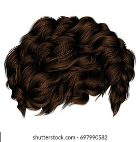 trendy curly hairs dark brown brunette. medium length .  beauty style .realistic  3d .