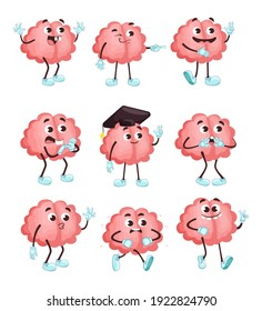 Trendy cute brain in different poses flat illustration set. Cartoon brainy character emotions isolated vector illustration collection. Brainpower, mind and intelligence concept