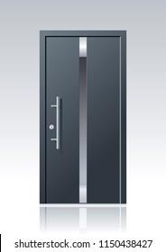 trendy dark grey vector front door with glass windows and steel applications