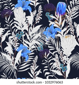 Trendy dark Summer night unfinished garden flowers outline in hand sketch and drawing ,many kind of floral in seamless pattern vector illustration on navy blue  background