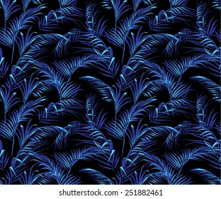 trendy dark tropical palm leaves texture, seamless swatch element included