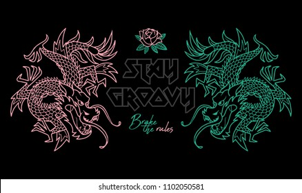 "Trendy design embroidered Japan neon dragons with and phrase ""Stay groovy"". Modern vector illustration mascot logo print for street wear brand clothes t shirt bomber sweatshirt poster sticker patch"