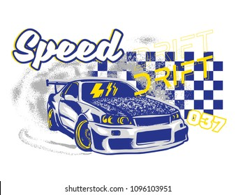 Trendy design fashion graphic print for t shirt clothes with Tokyo japan silver fast sports cars for speed rally drift with race elements. Modern vector illustration for poster street wear brand.