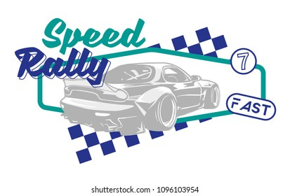 Trendy design fashion graphic print for t shirt clothes with Tokyo japan silver fast sports cars for speed rally with different race elements. Modern vector illustration for poster street wear brand.