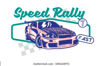 Trendy design fashion graphic print for t shirt clothes with Tokyo japan pink fast sports cars for speed rally with different race elements. Modern vector illustration for poster street wear brand.