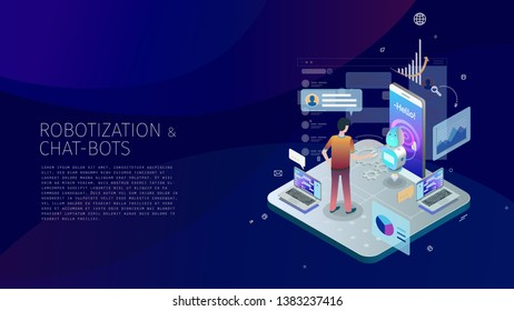 Trendy design style isometric with gradients and line-art design-elements conceptual composition with a person interacting with a small friendly robot and a system, Robotization and Chat-bots metaphor