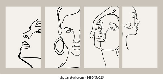 Trendy design templates for stories with portrait woman in abstract one line graphic style. Contemporary background for social media. Hand drawn vector