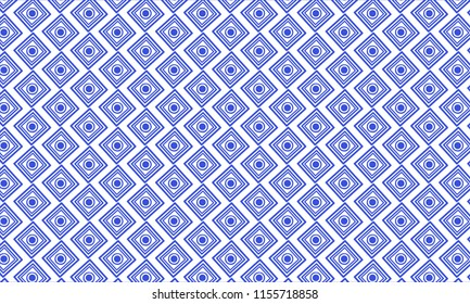 Trendy Diamond-shaped Pattern Vector Illustration. Geometric design in the Mins Dynasty Chinese Porcelain. White-blue stylish ornament. Rhomboid symbolic texture