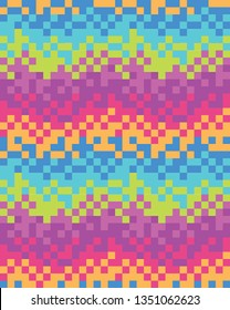 Trendy, digital rainbow ombre seamless vector pattern. Bright, fun colors and pixel motive reminiscent of old school video games.