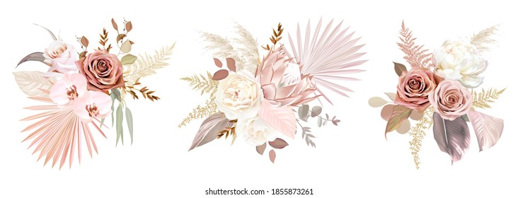 Trendy dried palm leaves, blush pink and rust rose, pale protea, white ranunculus, pampas grass vector wedding bouquet.Trendy flower. Beige, gold, brown, rust, taupe.Elements are isolated and editable