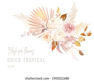 Trendy dried palm leaves, blush pink and rust rose, pale protea, white peony, ranunculus, carnation, pampas grass vector wedding banner. Beige, gold, rust, taupe. Elements are isolated and editable