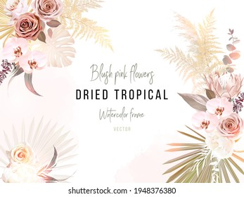 Trendy dried palm leaves, blush pink and rust rose, pale protea, white orchid, gold monstera, pampas grass vector wedding banner. Trendy flower. Beige, brown, rust. Elements are isolated and editable