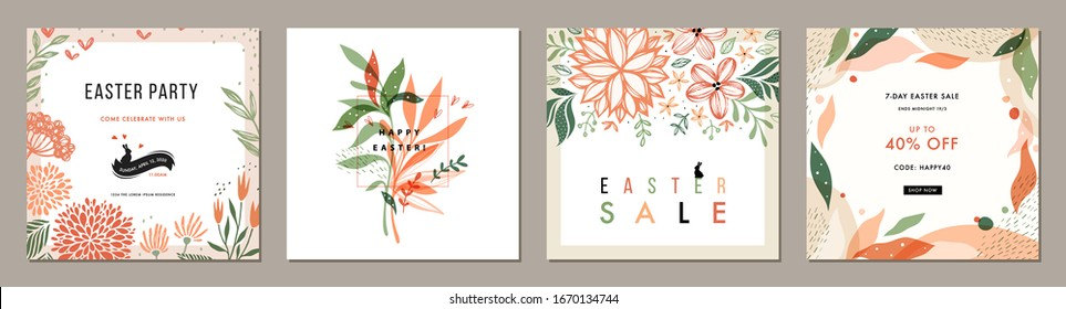 Trendy Easter floral square templates. Suitable for social media posts, mobile apps, cards, invitations, banners design and web/internet ads. Vector illustration.