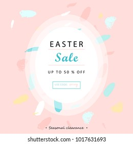 Trendy Easter Sale Banner Unique Design with different hand drawn shapes and textures. Cute social media backdrop for advertising, web, posters, invitations, greeting cards, birthday or anniversary.