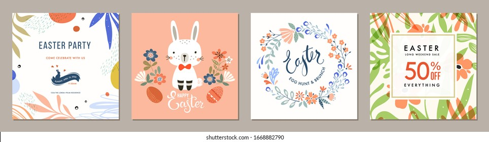 Trendy Easter square templates. Suitable for social media posts, mobile apps, cards, invitations, banners design and web/internet ads. Vector illustration.