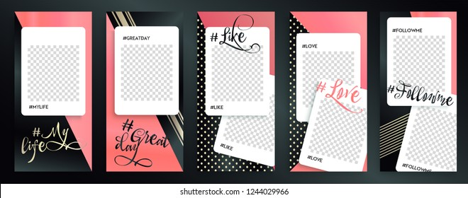 Trendy editable Instagram stories templates  with gold texture, vector illustration. Design backgrounds for social media stories, Instagram story.  insta frame, IG streaming