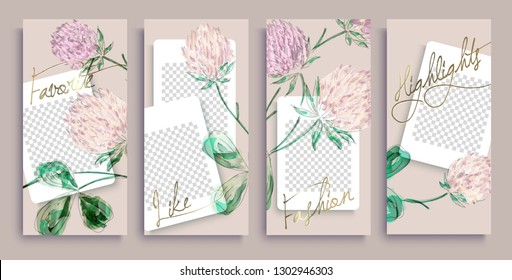 Trendy editable instagram stories templates with gold flowers, vector illustration. Design backgrounds for social media stories. instagram highlight covers. Insta fashion.