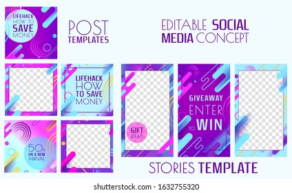 Trendy editable instagram template. Design for social media. Post and stories concepts
