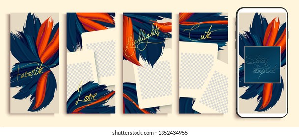 Trendy editable stories templates with blue and orange flowers, vector illustration. Design backgrounds for social media stories. instagram highlight covers. Insta fashion.