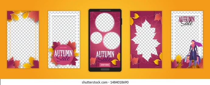 """Trendy editable template for social media. Photo overlay with """"autumn"""" theme. Everything built on layers and editable shapes."""