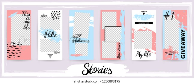 Trendy editable template for social networks stories, vector illustration. Design backgrounds for social media.