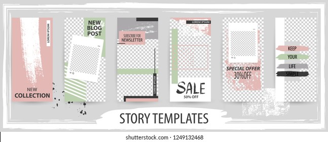 Trendy editable template for social networks stories, story, vector illustration. Design backgrounds for social media