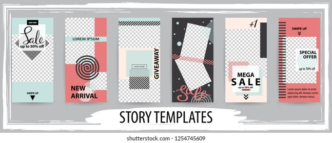 Trendy editable template for social networks stories, instagram story,vector illustration. Design backgrounds for social media.