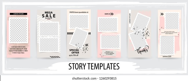 Trendy editable template for social networks stories, story,  vector illustration. Design backgrounds for social media