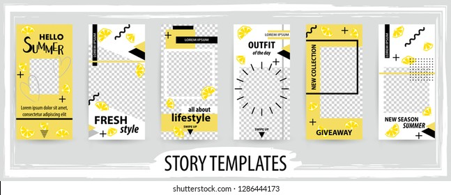 Trendy editable template for social networks stories, instagram story, vector illustration. Design backgrounds for social media.