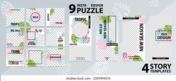 Trendy editable template for social networks stories and posts, instagram story, vector illustration. Design backgrounds for social media.