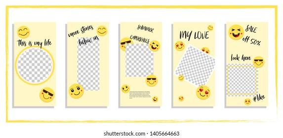 Trendy editable template for social networks story, vector illustration. Design backgrounds for social media.Funny yellow happy faces tell stories