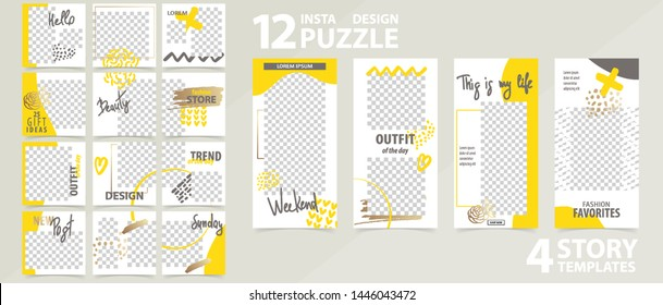 Trendy editable template for social networks stories and posts, vector illustration. Design backgrounds for social media.